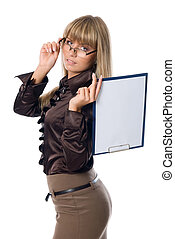 Business woman in glasses holding a clipboard with a blank...