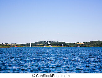 Recreation on the lake, summer