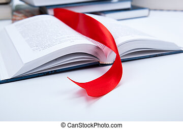 open book whith red bookmark - open book whith red ribbon...