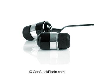 earphones buds macro closeup over white