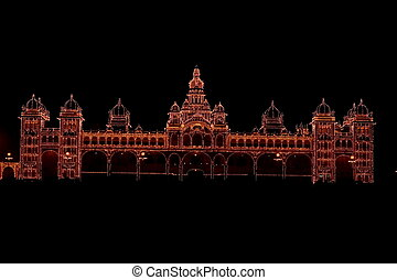 Mysore palace lighting-XIV - A beautiful Mysore palace...