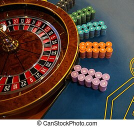 Gambling table with roulette in casino