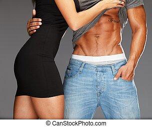 jovem, mulher, abraçar, homem, pelado, Muscular,...