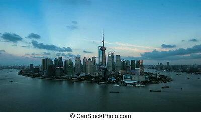 shanghai CBD - shanghai aerial timelapse.