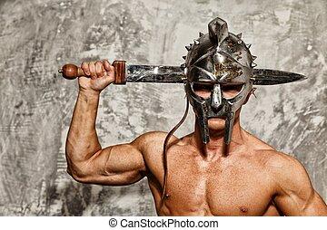 gladiador, Muscular, corporal, espada, capacete
