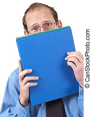 Businessman hiding behind the folder - Young successful...
