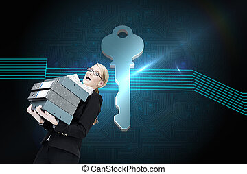 Composite image of businesswoman carrying folders -...