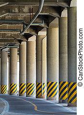 Under the highway road bridge