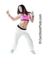 Young woman dancing zumba isolated on white background Happy...