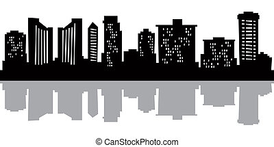 Cartoon Honolulu - Cartoon skyline silhouette of the city of...