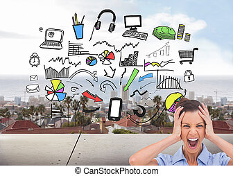 Composite image of stressed businesswoman with hand on her...