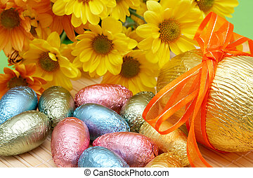Colorful wrapped chocolate Easter eggs - Assortment of...