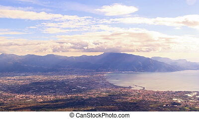 Pompei Valley, view from Mount Vesuvius. Italy. 4K - Pompei...