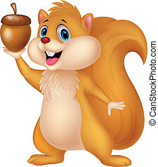 Squirrel cartoon with nut - Vector illustration of Squirrel...