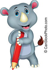 Rhino cartoon holding pencil - Vector illustration of Rhino...