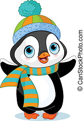 Cute winter penguin - Cute winter penguin with hat and scarf...