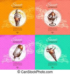 Set of vintage sweet backgrounds. Hand drawn illustration. Menu for restaurant and cafe
