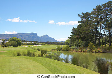 Golf course landscape in the mountains on a beautiful summer...
