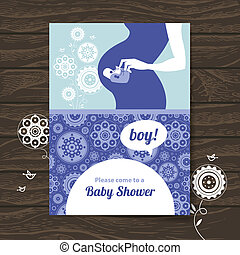 Silhouette pregnant mother. Baby shower invitation