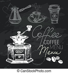 Coffee hand drawn chalkboard design set Black chalk texture