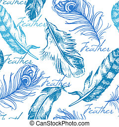 Vintage feather seamless pattern