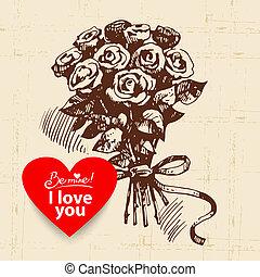 Valentine's, Day, vintage, background, Hand, drawn,...