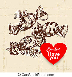 Valentine's Day vintage background. Hand drawn illustration with heart form banner and sweets