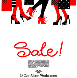 Shopping women. Sale design with beautiful girl silhouettes
