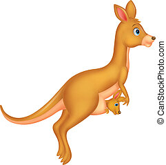 Mother and baby kangaroo cartoon - Vector illustration of...