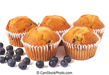 Blueberry muffins on white - Five fresh blueberry muffins...
