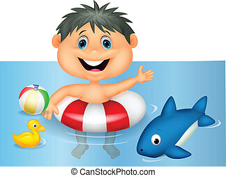 Boy cartoon floating with inflatabl - Vector illustration of...