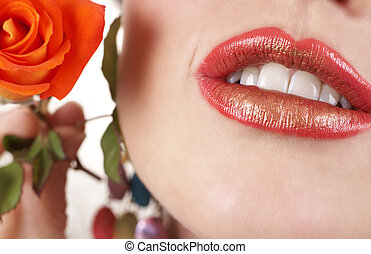 Macro shot of beautiful full lips with bright fashionable...