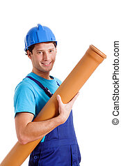 Blue collar worker with pipe - Blue collar worker with...
