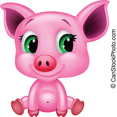 Cute baby pig cartoon - Vector illustration of Cute baby pig...