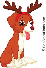 Cartoon Dog in reindeer costume - Vector illustration of...