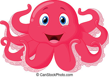 Cute octopus cartoon - Vector illustration of Cute octopus...