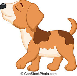 Dog cartoon walking - Vector illustration of Dog cartoon...