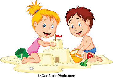 Children cartoon making sand castle - Vector illustration of...