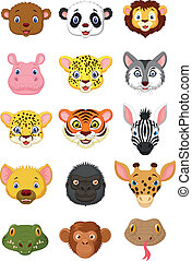 Wild animal head cartoon - Vector illustration of Wild...