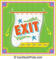 Exit Poster - illustration of Exit Poster India truck paint...