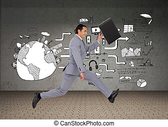 Composite image of businessman running with a suitcase