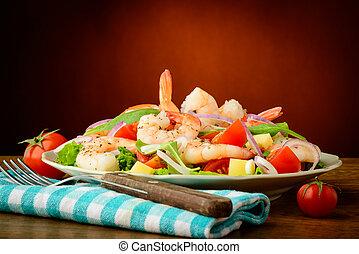 mariscos, ensalada, gambas