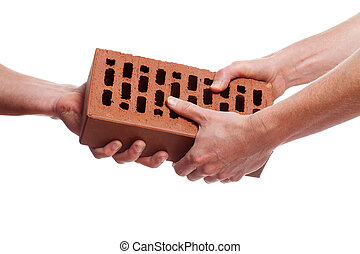 Giving a brick - Two hands giving a brick on white...