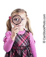 girl as young detective - Beautiful little girl looking...