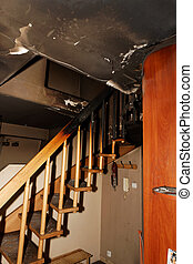 Burnt apartment - Partly burnt and ruined modern apartment...