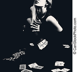 Sexy woman with playing cards in stockings. - Sexy woman...