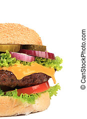 Big appetizing fast food hamburger.