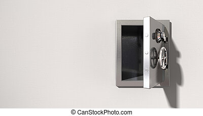 Empty Safe On Wall - An empty metal safe on a light colored...