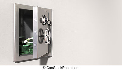 Open Safe On Wall With Australian Dollars