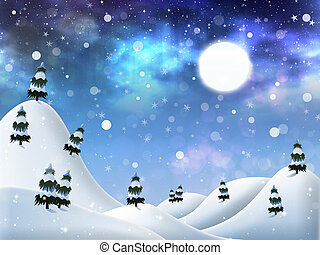 Winter night - Abstract beautiful winter night background...